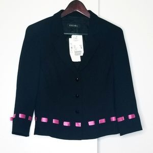 Escada Black Jacket With Pink Ribbon